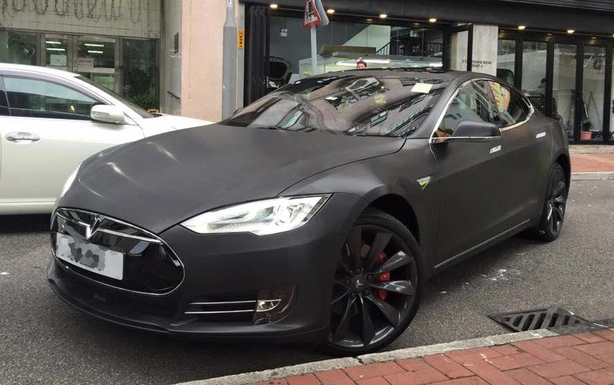 Black Brushed Tesla Model S By Impressive Wrap