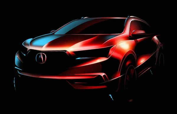 2017 Acura MDX Teaser 600x387 at 2017 Acura MDX Teased for New York Auto Show