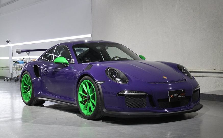 Loopy Ultraviolet Porsche 991 GT3 RS with Green Wheels