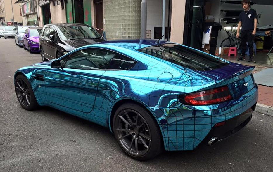 Aston Martin Vantage Gets Wireframe Ice Blue Chrome Wrap