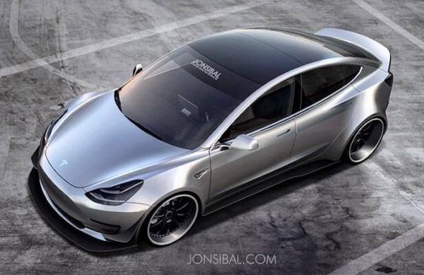 Rendering Tesla Model 3 Wide Body