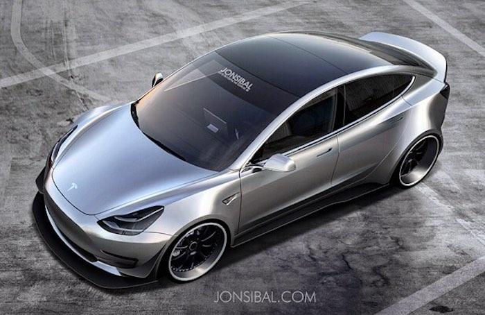 Rendering: Tesla Model 3 Wide Body