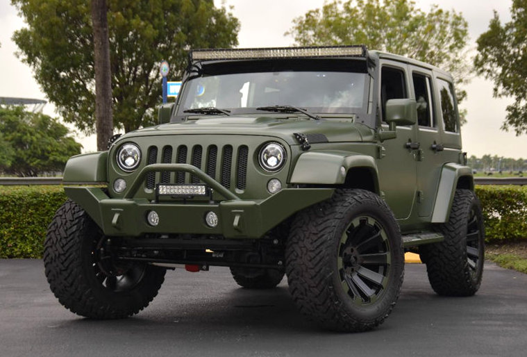 Spotlight Custom Matte Green Jeep Wrangler