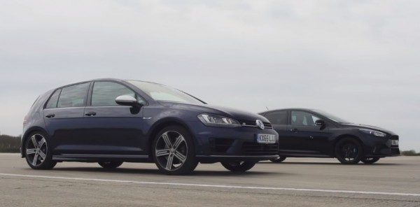 Ford Focus RS Golf R 600x296 at New Ford Focus RS Takes on Golf R in a Drag Battle