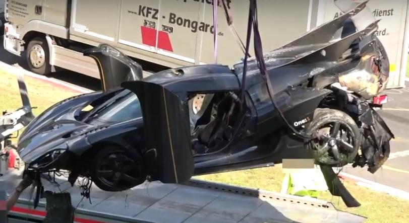 one 1 crash at Koenigsegg One:1 Wrecked in Heavy Nurburgring Crash