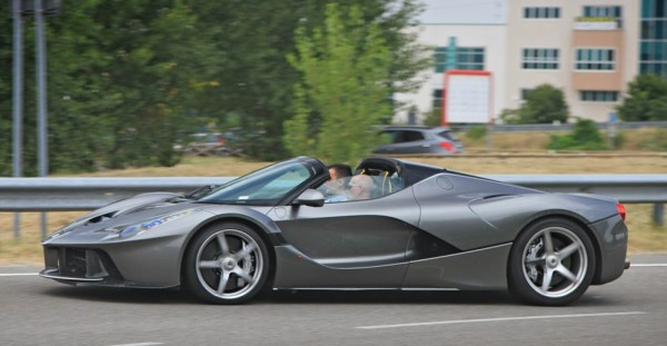 LaFerrari Aperta Grigio spot 0 600x311 at Sweet Looking LaFerrari Aperta Sighted Outside Factory