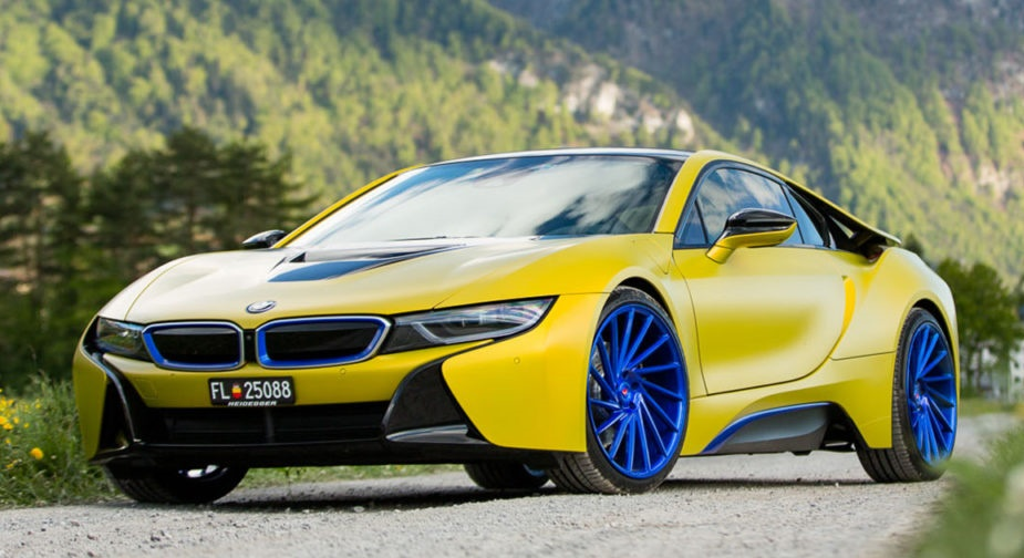 Color Therapy Matte Yellow Bmw I8 On Blue Wheels