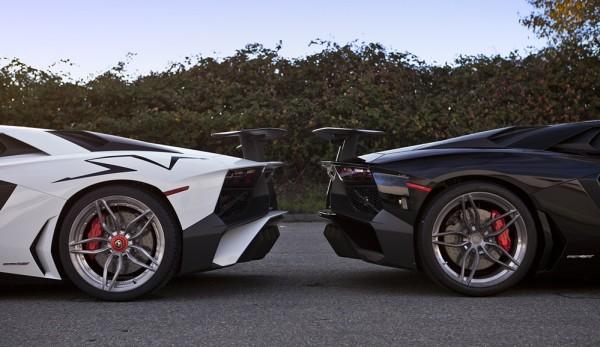 Lamborghini Aventador SV PUR 0 600x347 at 2x Lamborghini Aventador SV on Matching PUR Rims