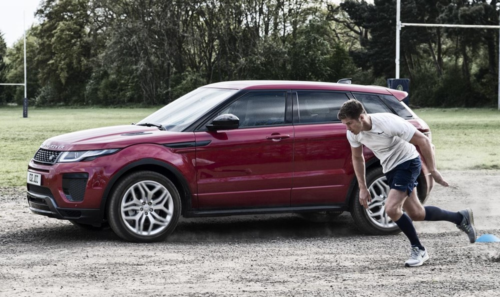 Range Rover Evoque vs Farrell at Range Rover Evoque Goes Head to Head with Rugby Player