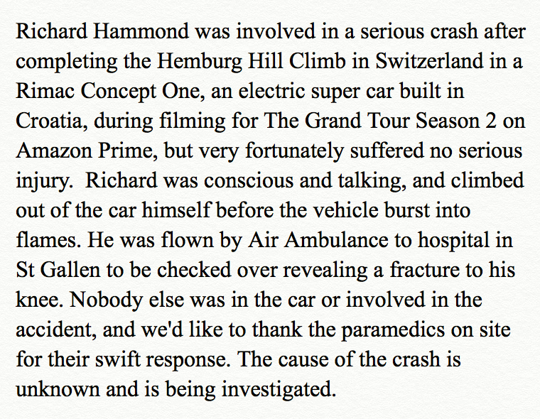 grand tour statement at Richard Hammond Crashes £2M Hypercar on Set of Grand Tour