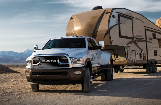 Ram 3500 Longhorn with 5th wheel travel trailer at 2018 Ram 3500 Heavy Duty with 930 lb. ft. of Torque!