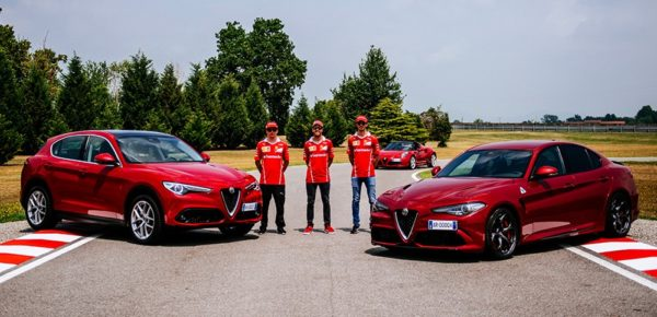 ferrari f1 alfa romeo 600x290 at Ferrari F1 Drivers Sample Some Alfa Romeo Giulia QV Magic