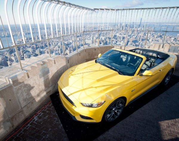 ford mustang empire state building top 600x473 at The Story of the Mustang on Top of the World