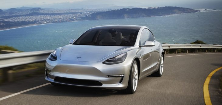 tesla model 3 silver 730x345 at General Motors reveals 2 Chevrolet Bolt based Electric Cars