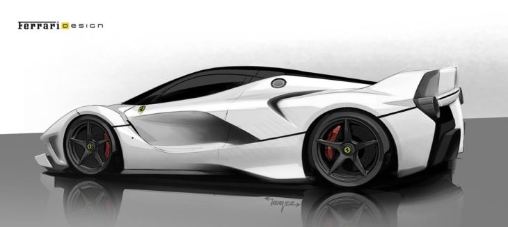 Ferrari FXX K sketch 2 730x327 at All Electric Ferrari Supercar All But Confirmed