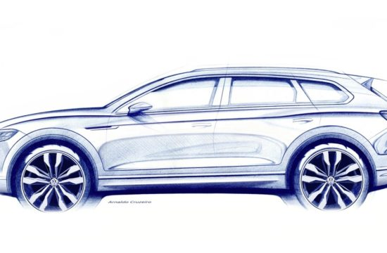 Volkswagen Touareg sketch 550x360 at 2019 Volkswagen Touareg to Debut in March