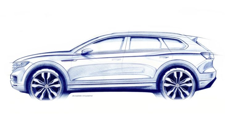 Volkswagen Touareg sketch 730x389 at 2019 Volkswagen Touareg to Debut in March