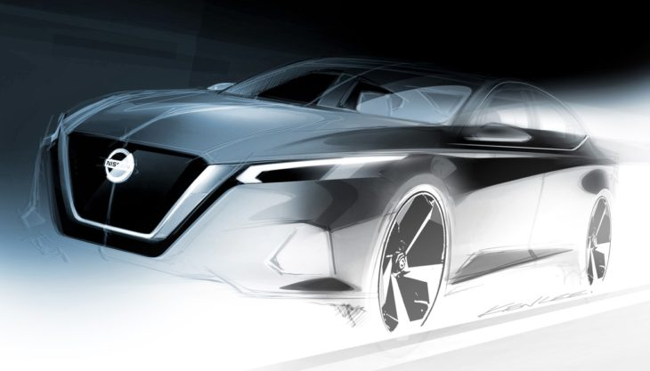 Nissan Altima design sketch 730x417 at 2019 Nissan Altima Previewed Ahead of New York Debut