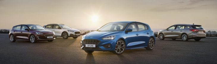 FORD 2018 FOCUS RANGE  02 730x217 at 2019 Ford Focus Unveiled   Larger, Comfier, More Fun