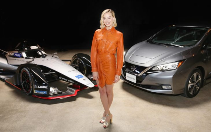 Margot Robbie Nissan EV 730x456 at Margot Robbie Launches Nissan Formula E Car in L.A.