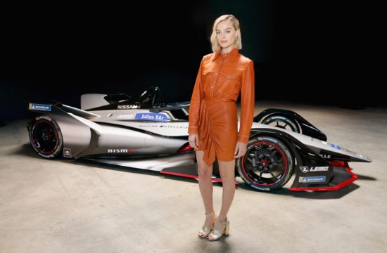 Margot Robbie Nissan FE 550x360 at Margot Robbie Launches Nissan Formula E Car in L.A.