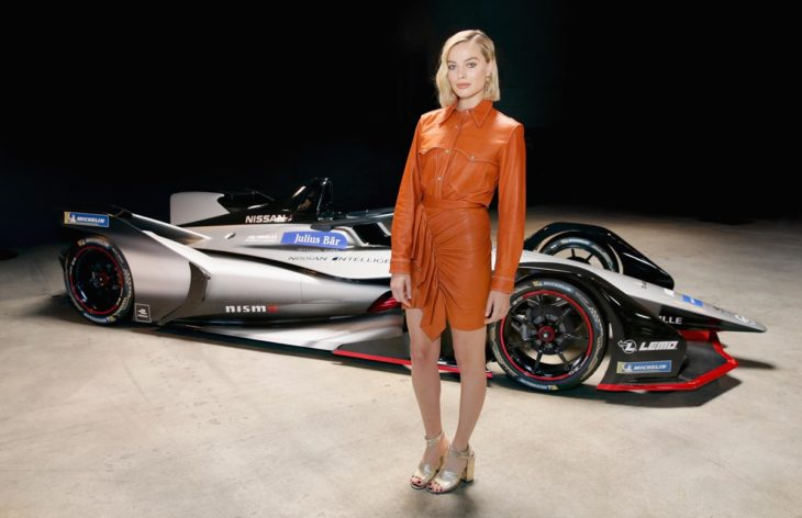 Margot Robbie Nissan FE 730x472 at Margot Robbie Launches Nissan Formula E Car in L.A.
