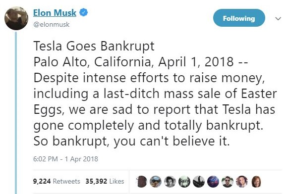 tesla april tweet at Car Makers April Fools Jokes Compilation