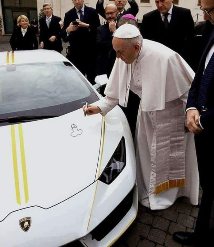 pope lambo joke at Popes Lamborghini Huracan Sold for $861K at Auction