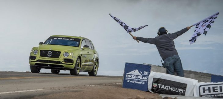 1 Bentayga Pikes Peak Finish Line 730x326 at Bentley Bentayga Sets Production SUV Record at Pikes Peak