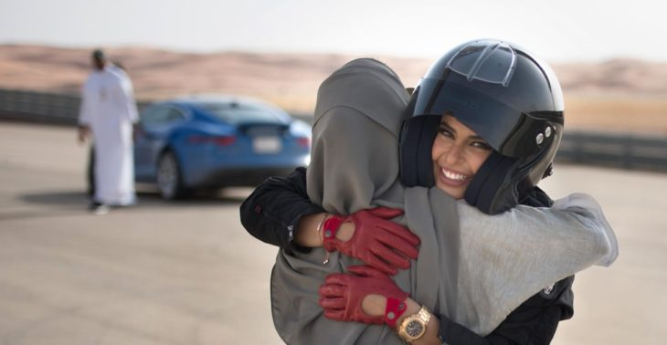 Aseel Al Hamad celebrates the end of the ban on women drivers and the launch of World Driving Day 730x378 at On the Reversal of Ban on Female Drivers in Saudi Arabia