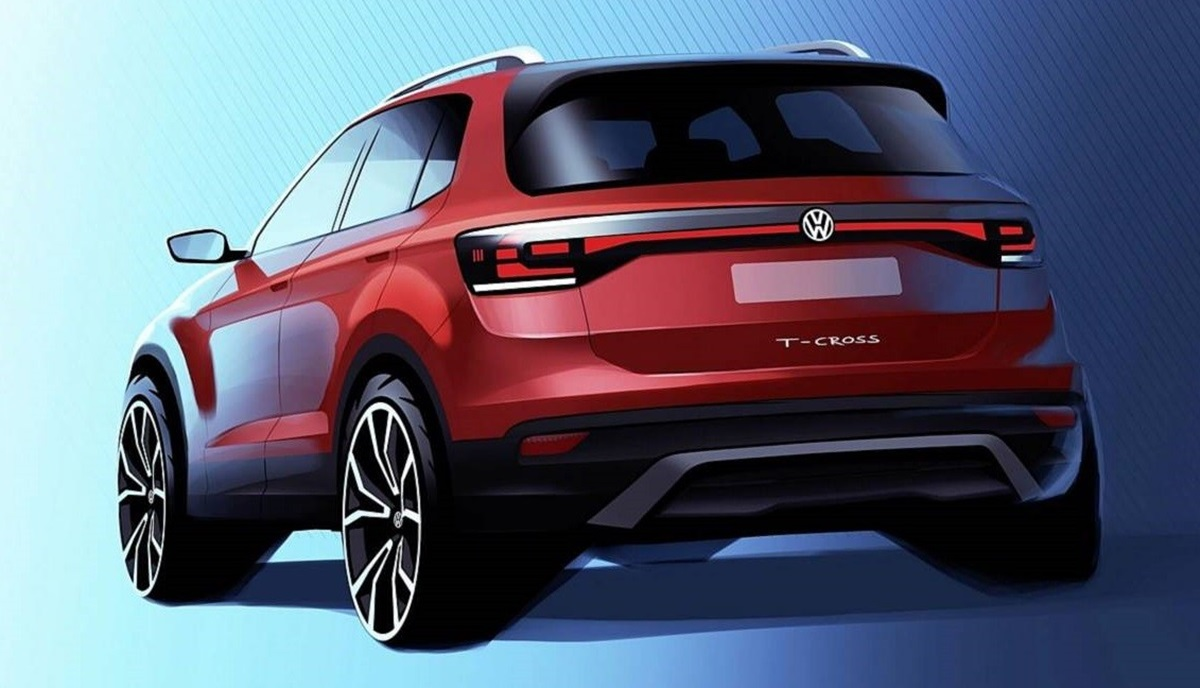 2019 vw t cross teased slots beneath t roc. Black Bedroom Furniture Sets. Home Design Ideas