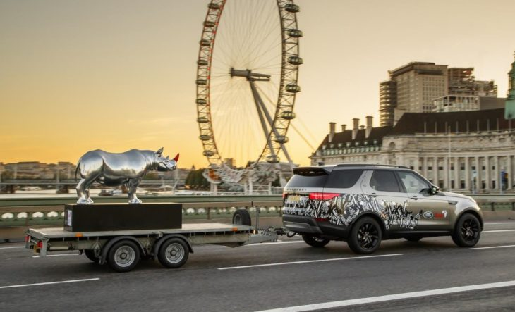 land rover rhino tusk 1 1 730x443 at Land Rover Takes to Trafalgar Square with a Chrome Rhino!
