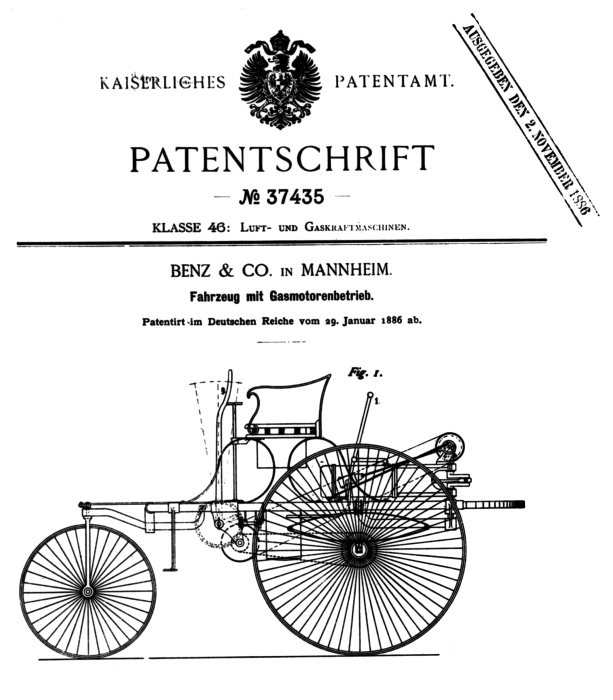 Patent 37435 at Patent No. 37435   the first automobile (or was it?)