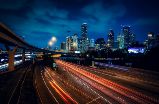 houston night view 550x360 at Distracted Driving in Houston   How Bad is the Problem?